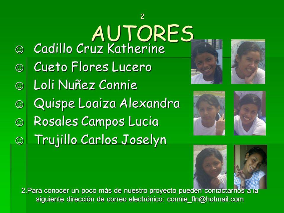 2 AUTORES 2 AUTORES Cadillo Cruz Katherine Cadillo Cruz Katherine Cueto Flores Lucero Cueto Flores Lucero Loli Nuñez Connie Loli Nuñez Connie Quispe L