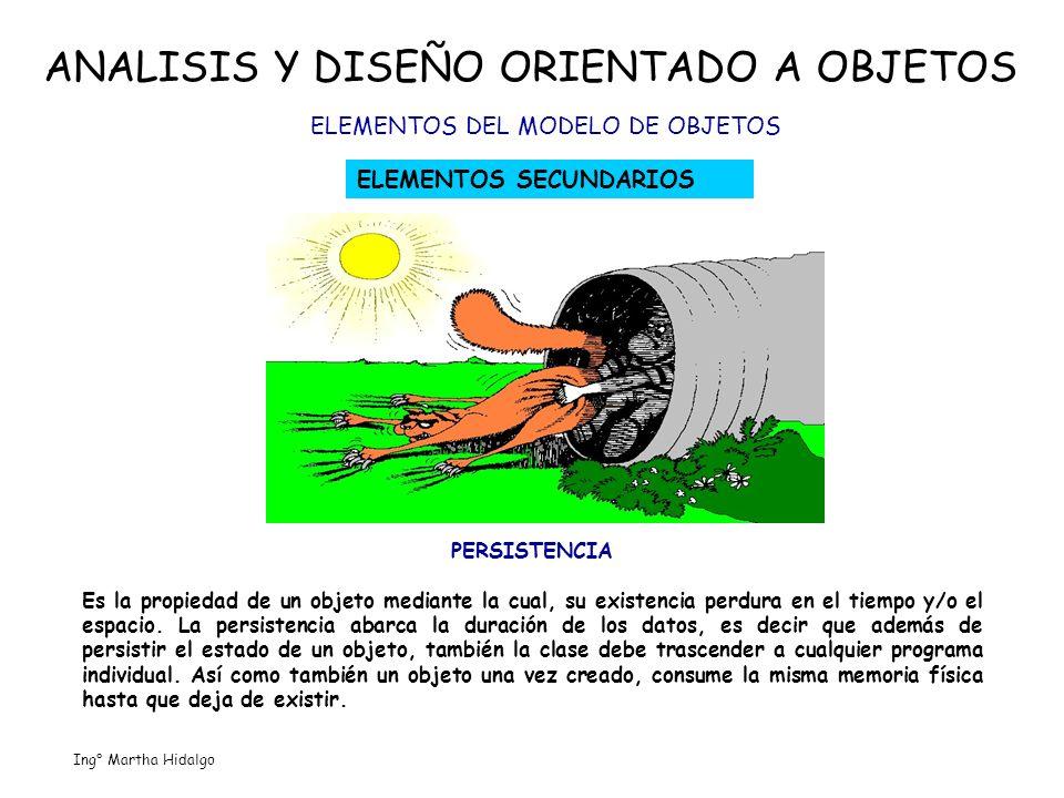 ANALISIS Y DISEÑO ORIENTADO A OBJETOS ELEMENTOS DEL MODELO DE OBJETOS ELEMENTOS SECUNDARIOS PERSISTENCIA Es la propiedad de un objeto mediante la cual