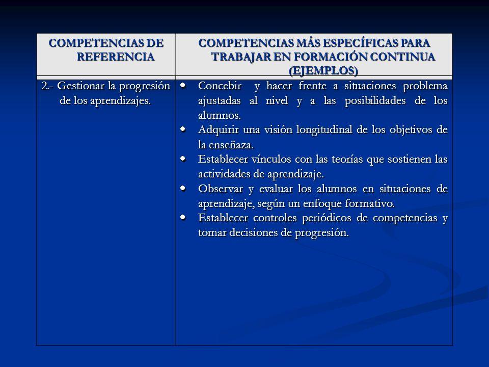 COMPETENCIAS DE REFERENCIA COMPETENCIAS MÁS ESPECÍFICAS PARA TRABAJAR EN FORMACIÓN CONTINUA (EJEMPLOS) 2.- Gestionar la progresión de los aprendizajes