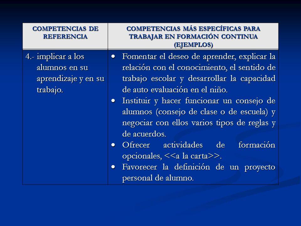 COMPETENCIAS DE REFERENCIA COMPETENCIAS MÁS ESPECÍFICAS PARA TRABAJAR EN FORMACIÓN CONTINUA (EJEMPLOS) 4.- implicar a los alumnos en su aprendizaje y