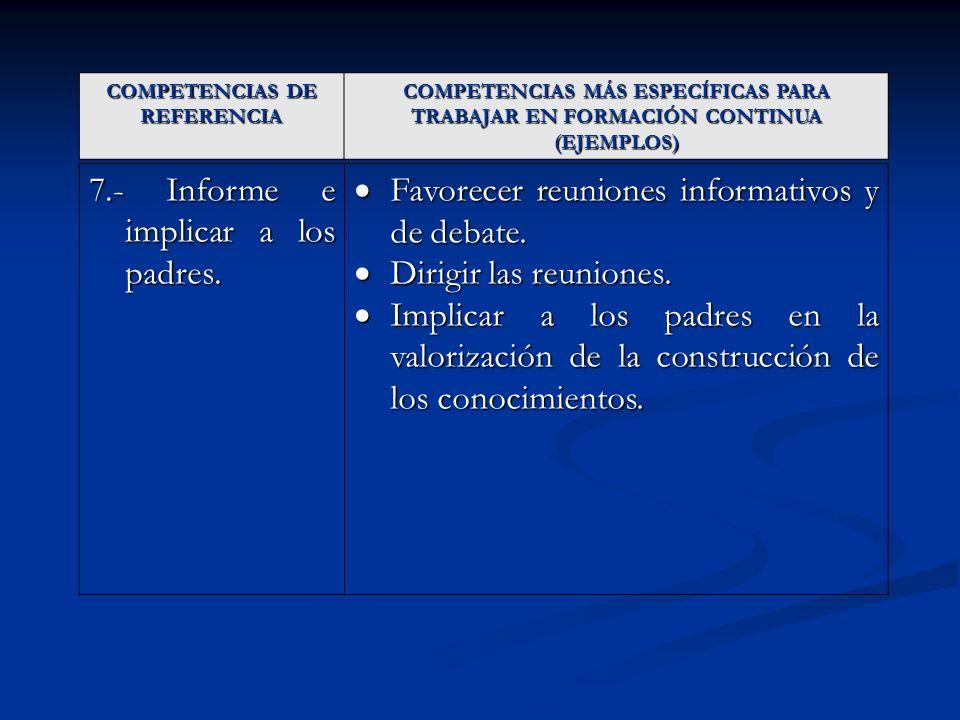 COMPETENCIAS DE REFERENCIA COMPETENCIAS MÁS ESPECÍFICAS PARA TRABAJAR EN FORMACIÓN CONTINUA (EJEMPLOS) 7.- Informe e implicar a los padres. Favorecer
