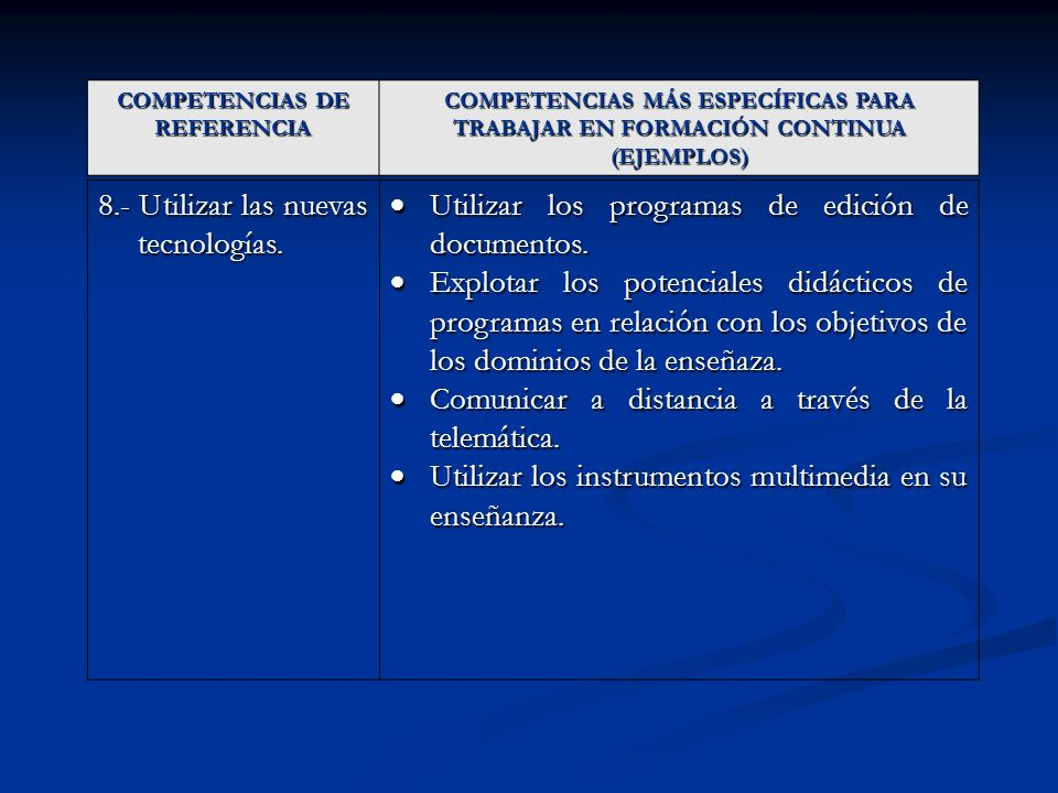 COMPETENCIAS DE REFERENCIA COMPETENCIAS MÁS ESPECÍFICAS PARA TRABAJAR EN FORMACIÓN CONTINUA (EJEMPLOS) 8.- Utilizar las nuevas tecnologías. Utilizar l