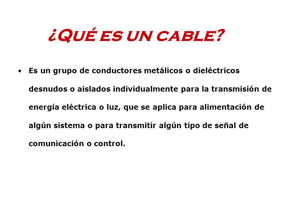 ¿Qué es un cable? Es un grupo de conductores metálicos o dieléctricos desnudos o aislados individualmente para la transmisión de energía eléctrica o l