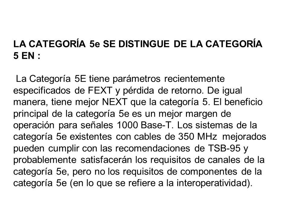 LA CATEGORÍA 5e SE DISTINGUE DE LA CATEGORÍA 5 EN : La Categoría 5E tiene parámetros recientemente especificados de FEXT y pérdida de retorno. De igua