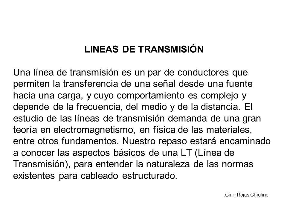 LINEAS DE TRANSMISIÓN Una línea de transmisión es un par de conductores que permiten la transferencia de una señal desde una fuente hacia una carga, y