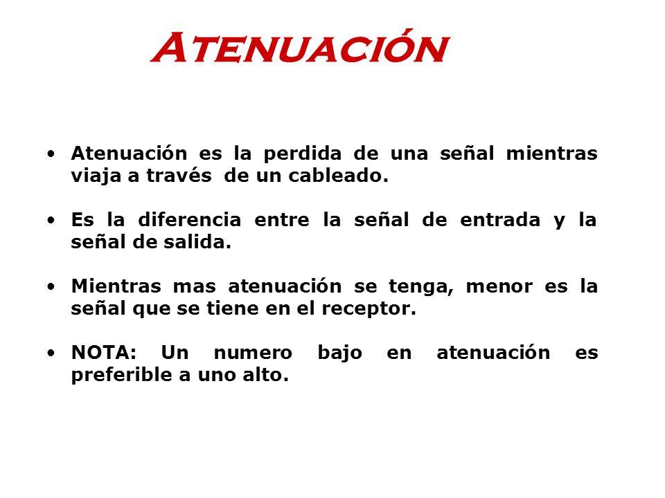 Atenuación Atenuación es la perdida de una señal mientras viaja a través de un cableado. Es la diferencia entre la señal de entrada y la señal de sali