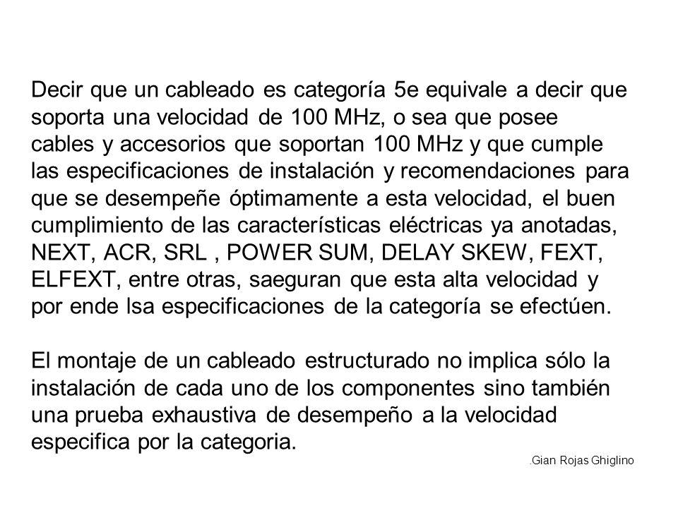 Decir que un cableado es categoría 5e equivale a decir que soporta una velocidad de 100 MHz, o sea que posee cables y accesorios que soportan 100 MHz