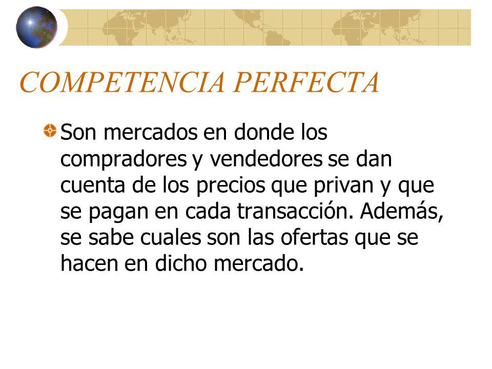 MERCADOS POR SU ESTRUCTURA Son aquellos mercados que se definen por su construcción. Competencia Perfecta Competencia Imperfecta