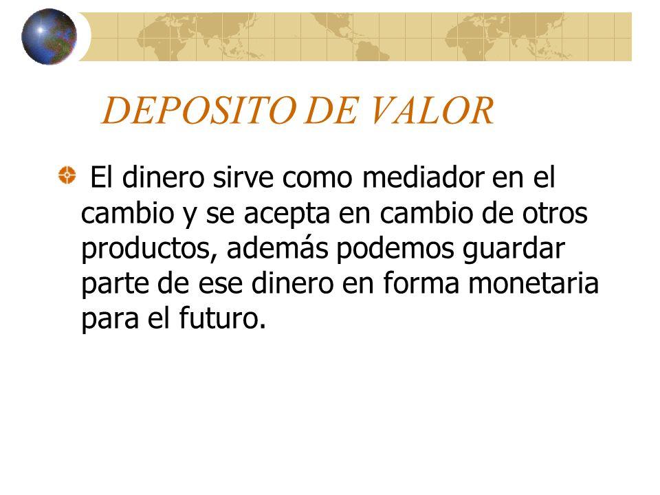 MEDIO DE CAMBIO El dinero se convierte en un tercer objeto en términos del cual se cambian todos los demás productos. Los productos que en una situaci