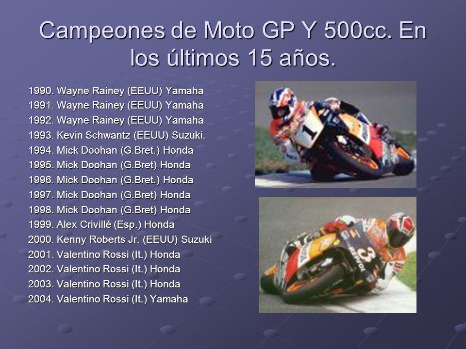 Campeones de Moto GP Y 500cc. En los últimos 15 años. 1990. Wayne Rainey (EEUU) Yamaha 1991. Wayne Rainey (EEUU) Yamaha 1992. Wayne Rainey (EEUU) Yama