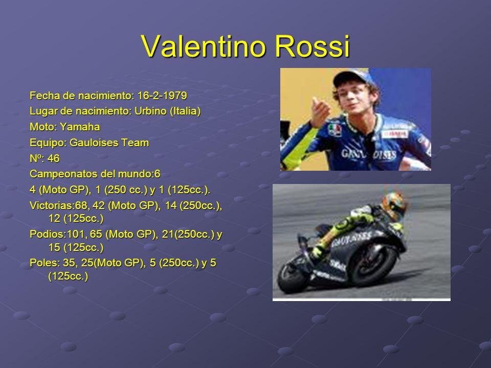 Valentino Rossi Fecha de nacimiento: 16-2-1979 Lugar de nacimiento: Urbino (Italia) Moto: Yamaha Equipo: Gauloises Team Nº: 46 Campeonatos del mundo:6