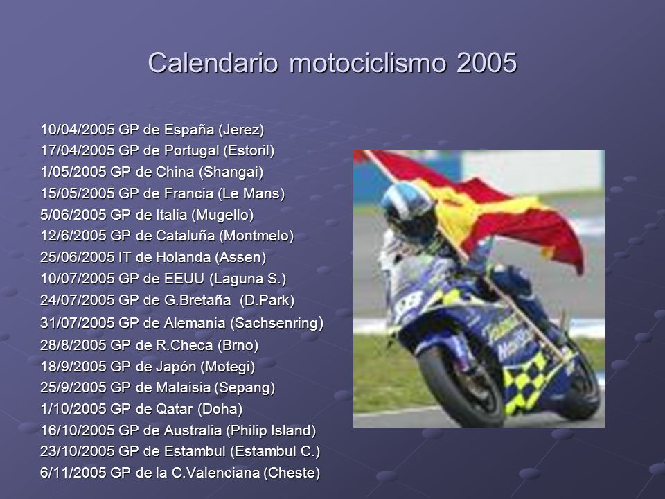 Calendario motociclismo 2005 10/04/2005 GP de España (Jerez) 17/04/2005 GP de Portugal (Estoril) 1/05/2005 GP de China (Shangai) 15/05/2005 GP de Fran