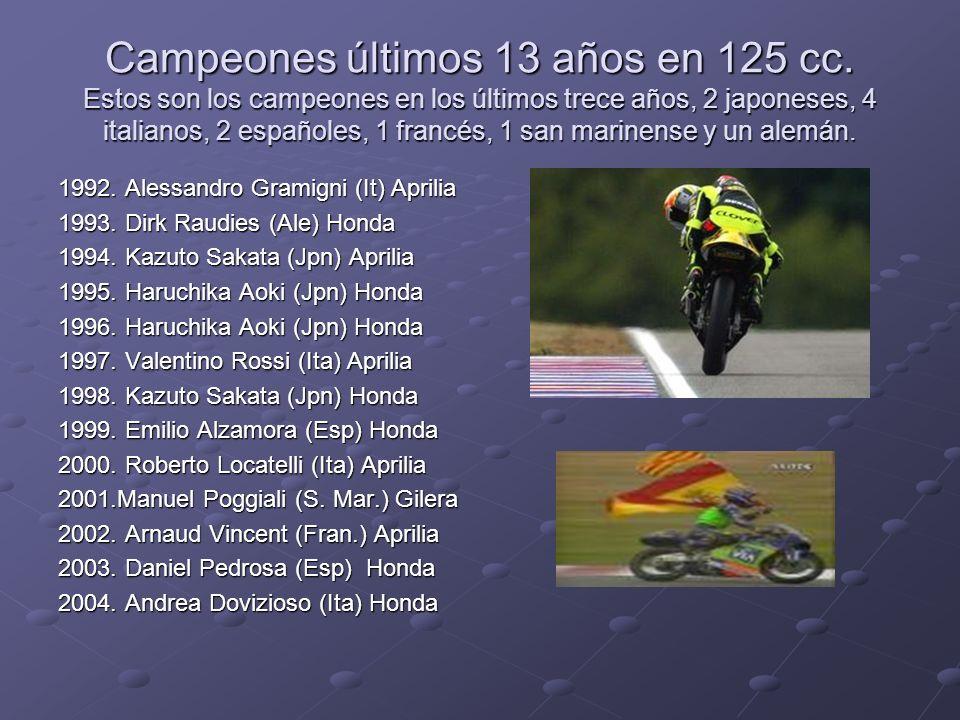 Campeones últimos 13 años en 125 cc. Estos son los campeones en los últimos trece años, 2 japoneses, 4 italianos, 2 españoles, 1 francés, 1 san marine