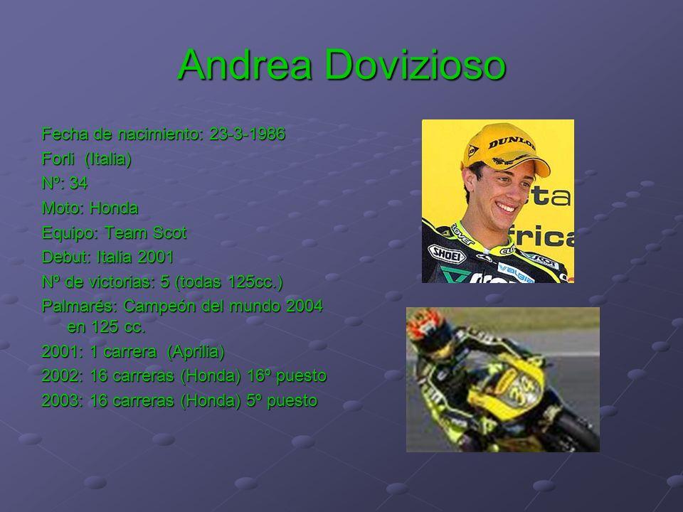 Andrea Dovizioso Fecha de nacimiento: 23-3-1986 Forli (Italia) Nº: 34 Moto: Honda Equipo: Team Scot Debut: Italia 2001 Nº de victorias: 5 (todas 125cc