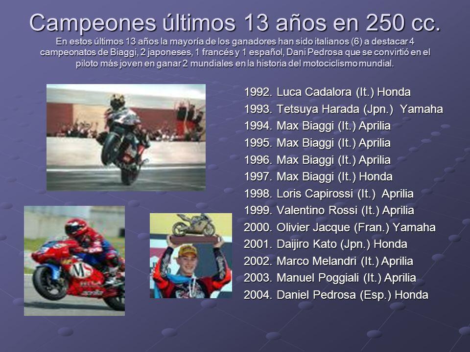Campeones últimos 13 años en 250 cc. En estos últimos 13 años la mayoría de los ganadores han sido italianos (6) a destacar 4 campeonatos de Biaggi, 2