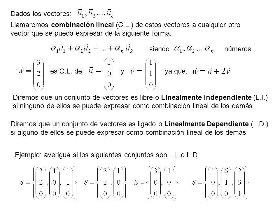 Llamaremos combinación lineal (C.L.) de estos vectores a cualquier otro vector que se pueda expresar de la siguiente forma: Dados los vectores: siendo