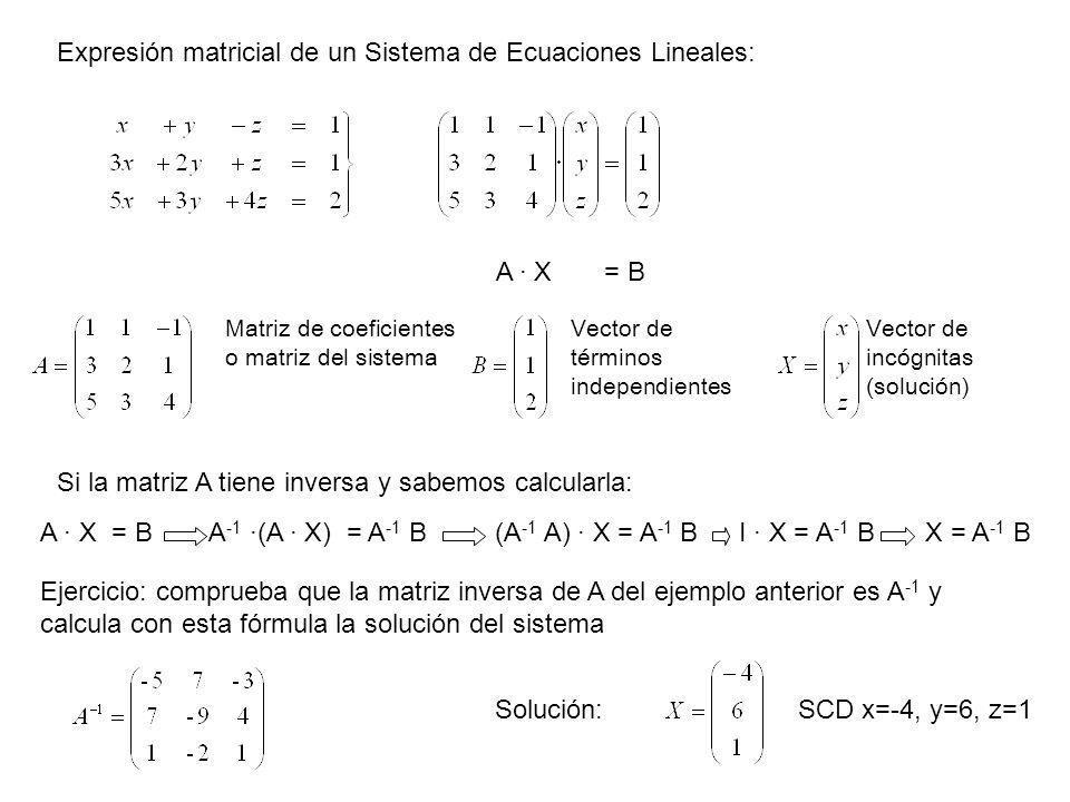 Expresión matricial de un Sistema de Ecuaciones Lineales: A · X = B Matriz de coeficientes o matriz del sistema Vector de términos independientes Si l
