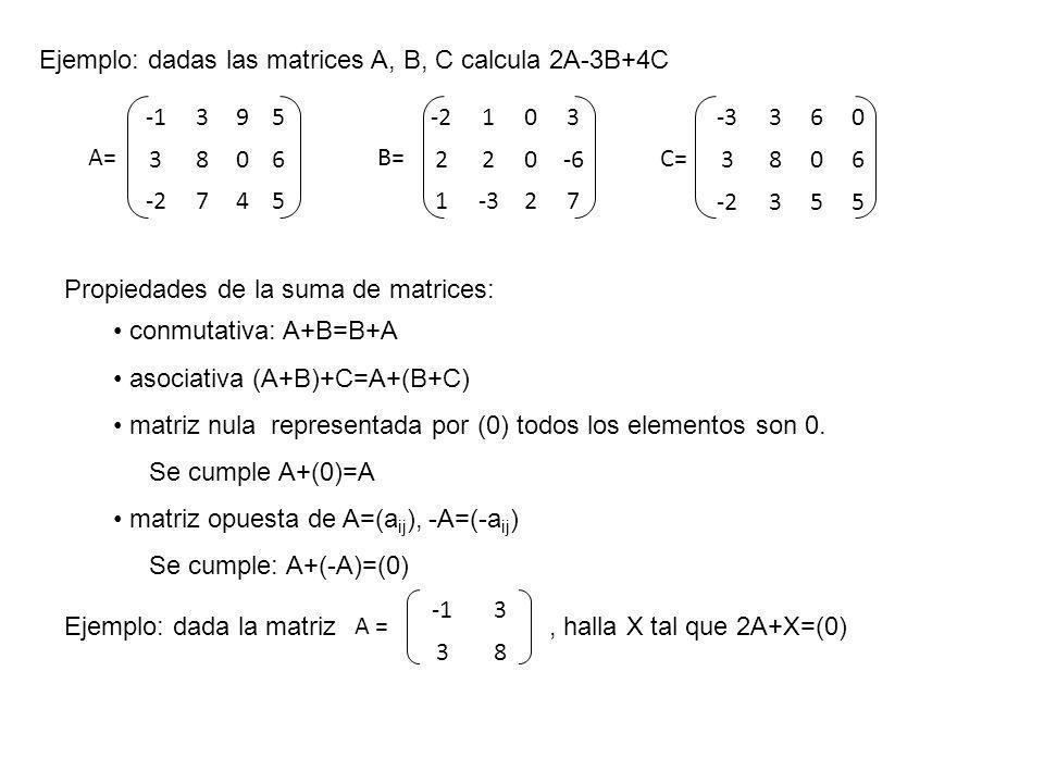 Propiedades de la suma de matrices: conmutativa: A+B=B+A asociativa (A+B)+C=A+(B+C) matriz nula representada por (0) todos los elementos son 0. Se cum