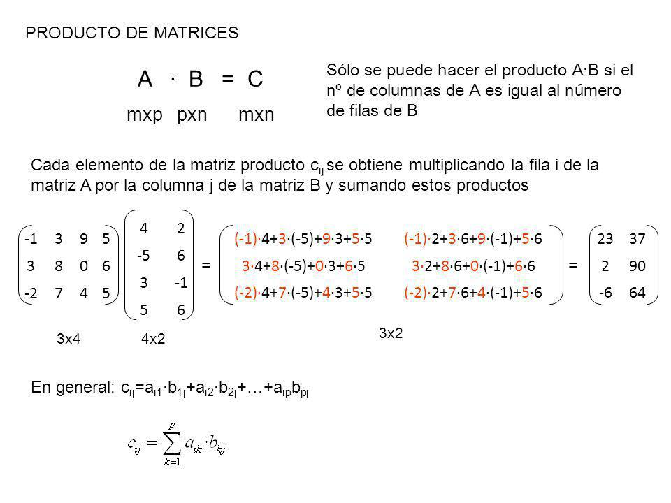 PRODUCTO DE MATRICES A · B = C mxp pxn mxn Cada elemento de la matriz producto c ij se obtiene multiplicando la fila i de la matriz A por la columna j