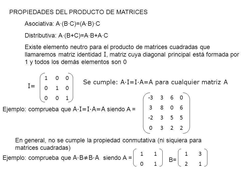 PROPIEDADES DEL PRODUCTO DE MATRICES Asociativa: A·(B·C)=(A·B)·C Distributiva: A·(B+C)=A·B+A·C Existe elemento neutro para el producto de matrices cua