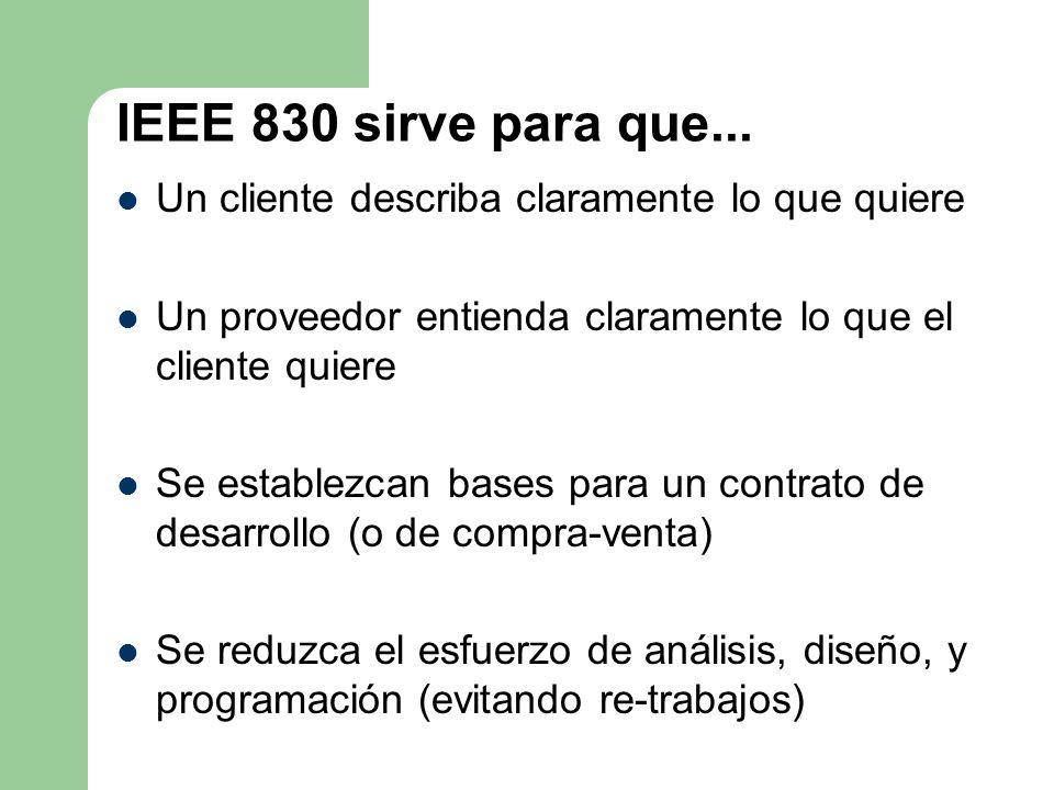 IEEE 830 sirve para que... Un cliente describa claramente lo que quiere Un proveedor entienda claramente lo que el cliente quiere Se establezcan bases