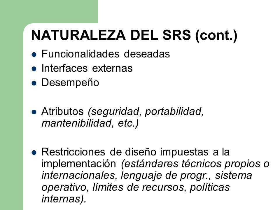 NATURALEZA DEL SRS (cont.) Funcionalidades deseadas Interfaces externas Desempeño Atributos (seguridad, portabilidad, mantenibilidad, etc.) Restriccio