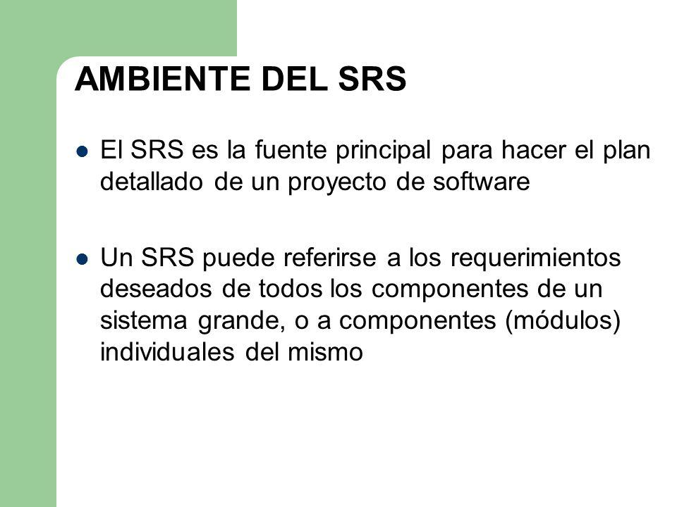 AMBIENTE DEL SRS El SRS es la fuente principal para hacer el plan detallado de un proyecto de software Un SRS puede referirse a los requerimientos des