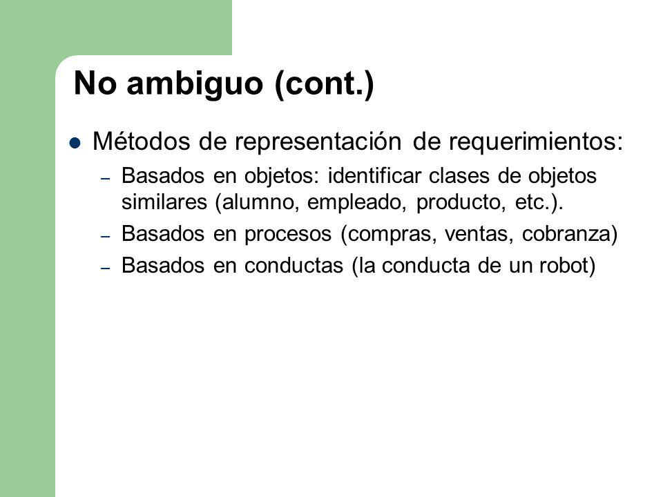 No ambiguo (cont.) Métodos de representación de requerimientos: – Basados en objetos: identificar clases de objetos similares (alumno, empleado, produ