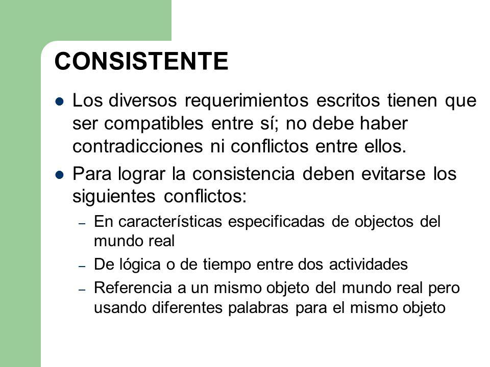 CONSISTENTE Los diversos requerimientos escritos tienen que ser compatibles entre sí; no debe haber contradicciones ni conflictos entre ellos. Para lo