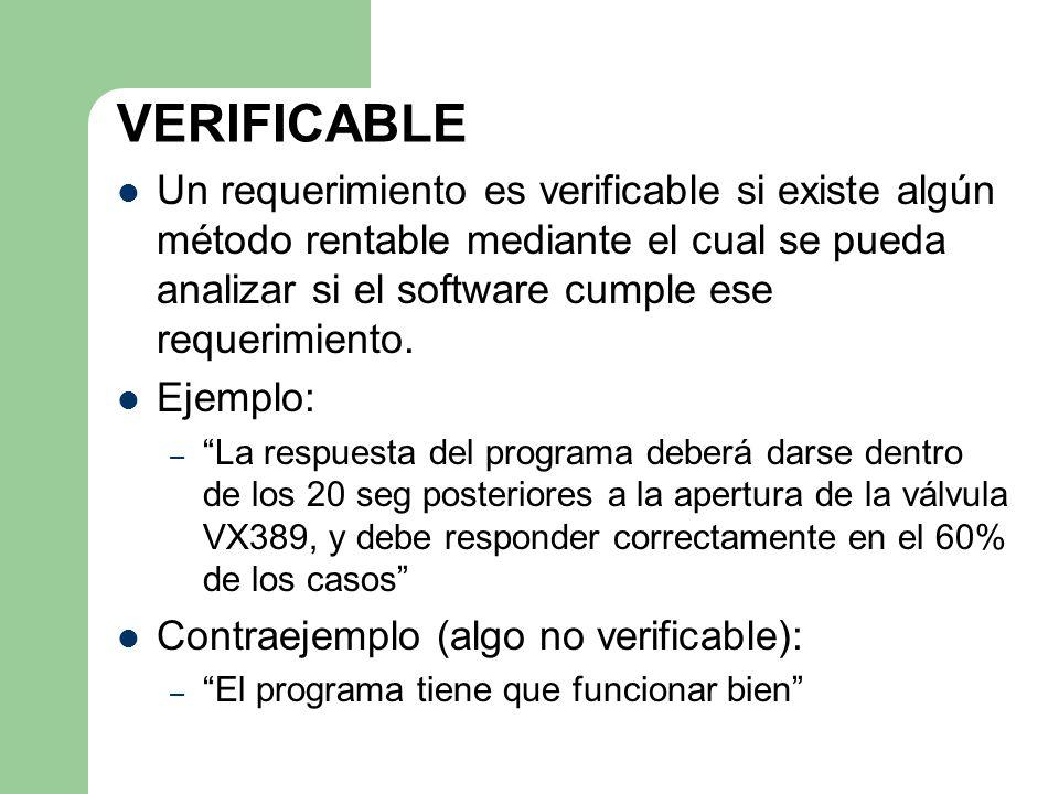 VERIFICABLE Un requerimiento es verificable si existe algún método rentable mediante el cual se pueda analizar si el software cumple ese requerimiento