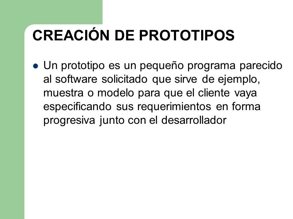 CREACIÓN DE PROTOTIPOS Un prototipo es un pequeño programa parecido al software solicitado que sirve de ejemplo, muestra o modelo para que el cliente
