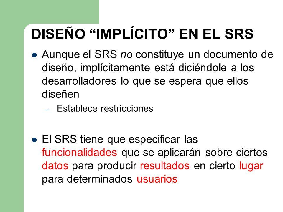 DISEÑO IMPLÍCITO EN EL SRS Aunque el SRS no constituye un documento de diseño, implícitamente está diciéndole a los desarrolladores lo que se espera q
