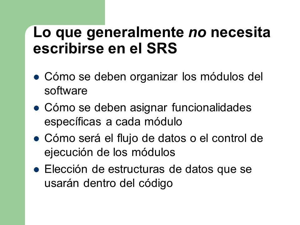 Lo que generalmente no necesita escribirse en el SRS Cómo se deben organizar los módulos del software Cómo se deben asignar funcionalidades específica