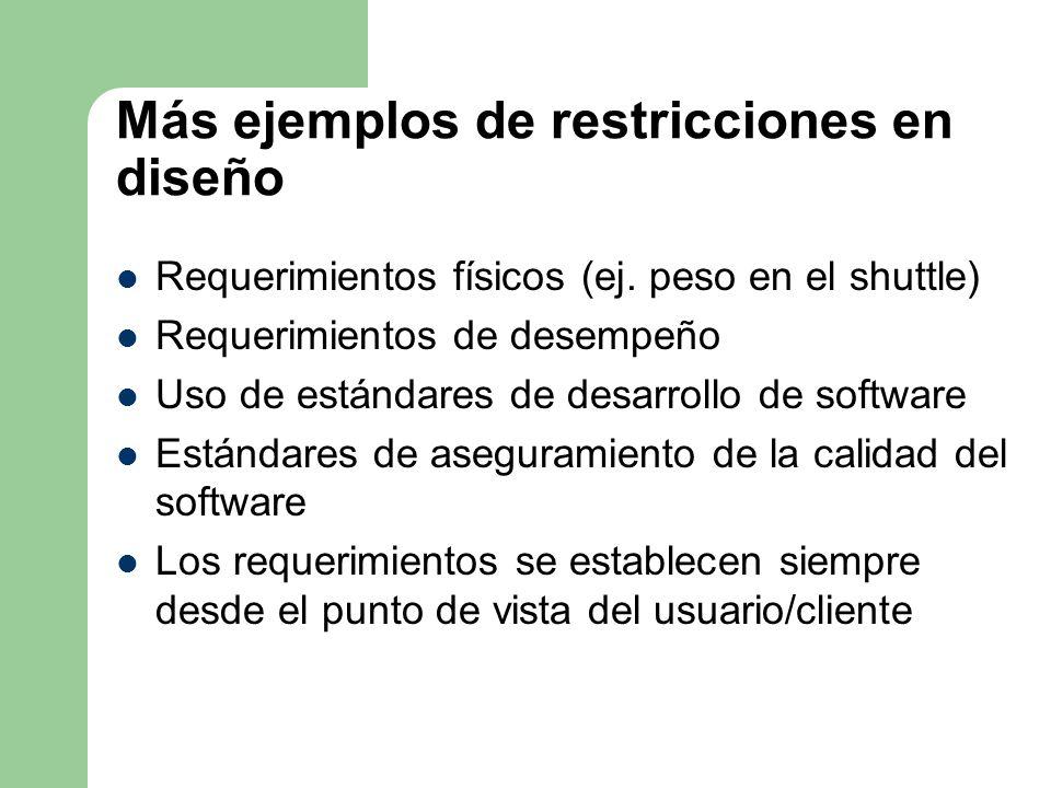 Más ejemplos de restricciones en diseño Requerimientos físicos (ej. peso en el shuttle) Requerimientos de desempeño Uso de estándares de desarrollo de