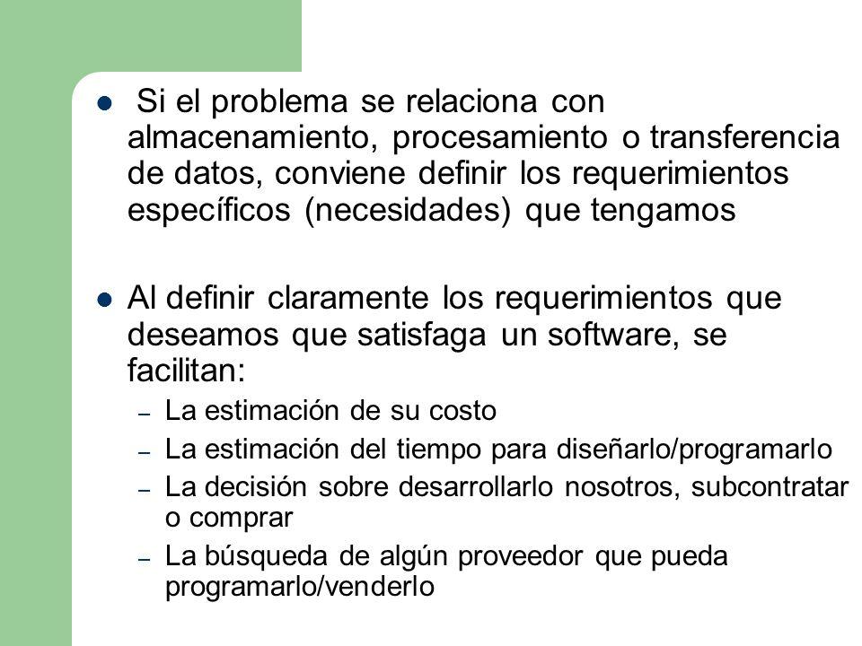 Si el problema se relaciona con almacenamiento, procesamiento o transferencia de datos, conviene definir los requerimientos específicos (necesidades)