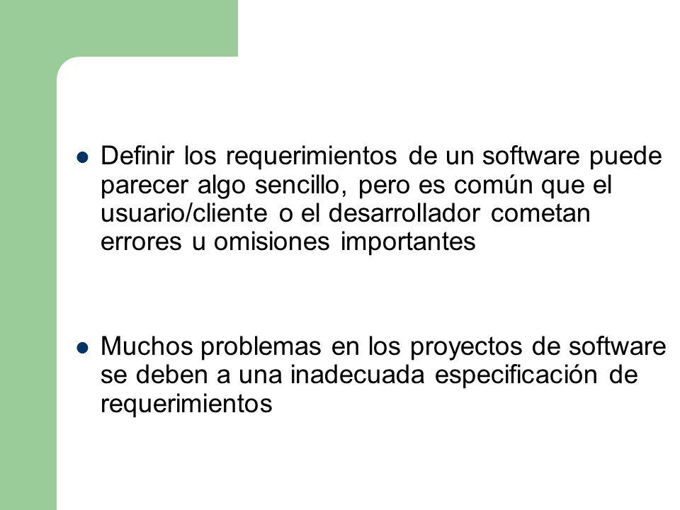 Definir los requerimientos de un software puede parecer algo sencillo, pero es común que el usuario/cliente o el desarrollador cometan errores u omisi