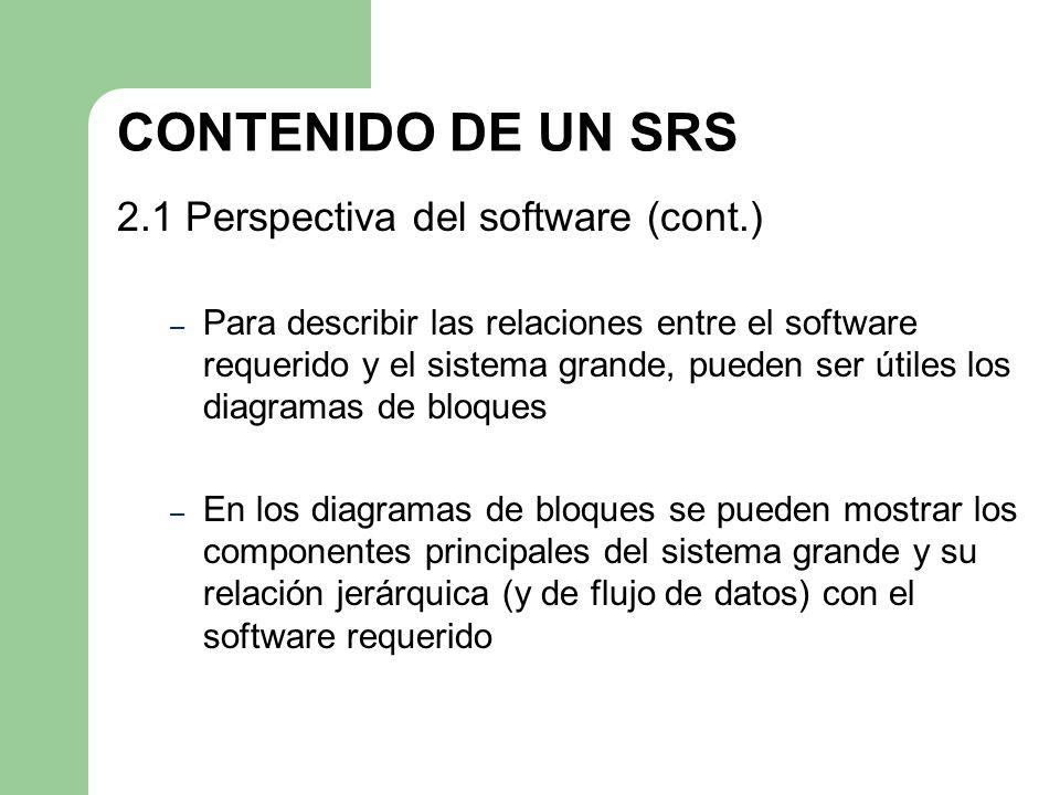 CONTENIDO DE UN SRS 2.1 Perspectiva del software (cont.) – Para describir las relaciones entre el software requerido y el sistema grande, pueden ser ú