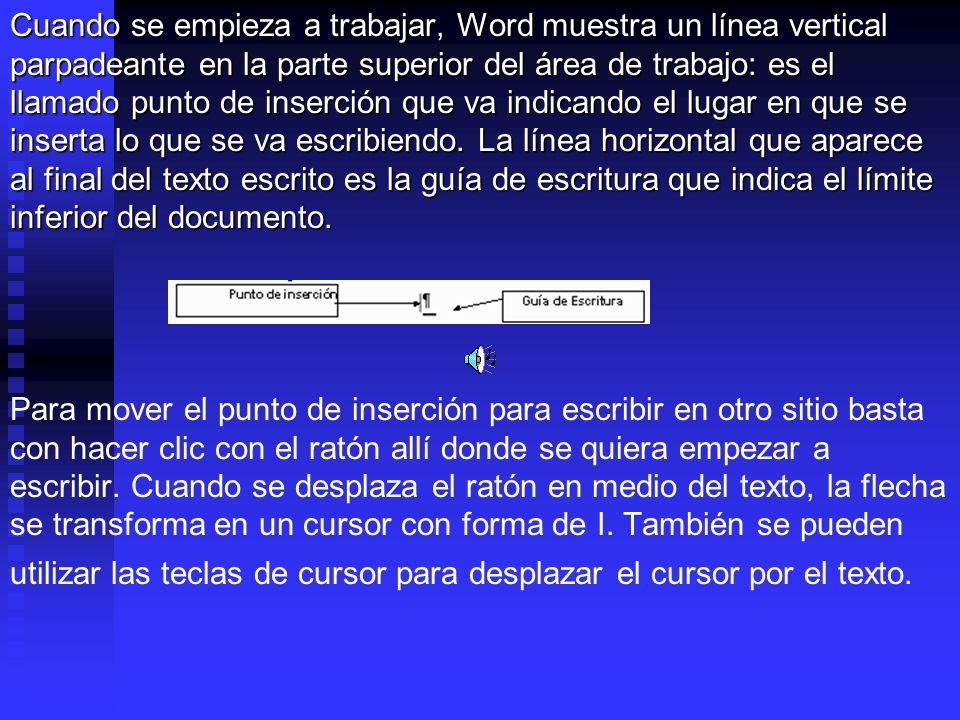 Cuando se empieza a trabajar, Word muestra un línea vertical parpadeante en la parte superior del área de trabajo: es el llamado punto de inserción qu