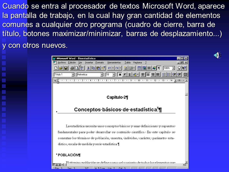 Cuando se entra al procesador de textos Microsoft Word, aparece la pantalla de trabajo, en la cual hay gran cantidad de elementos comunes a cualquier