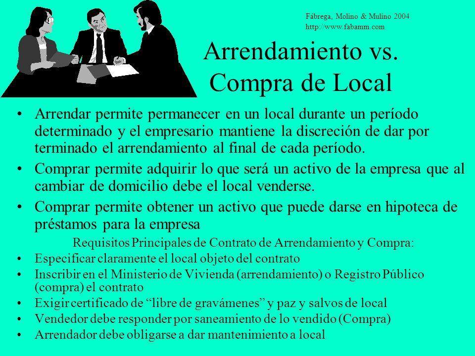 Arrendamiento vs. Compra de Local Arrendar permite permanecer en un local durante un período determinado y el empresario mantiene la discreción de dar