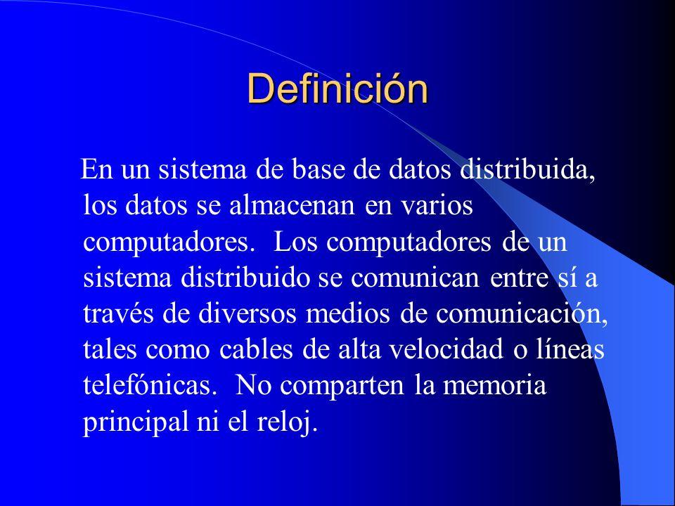 Definición En un sistema de base de datos distribuida, los datos se almacenan en varios computadores. Los computadores de un sistema distribuido se co