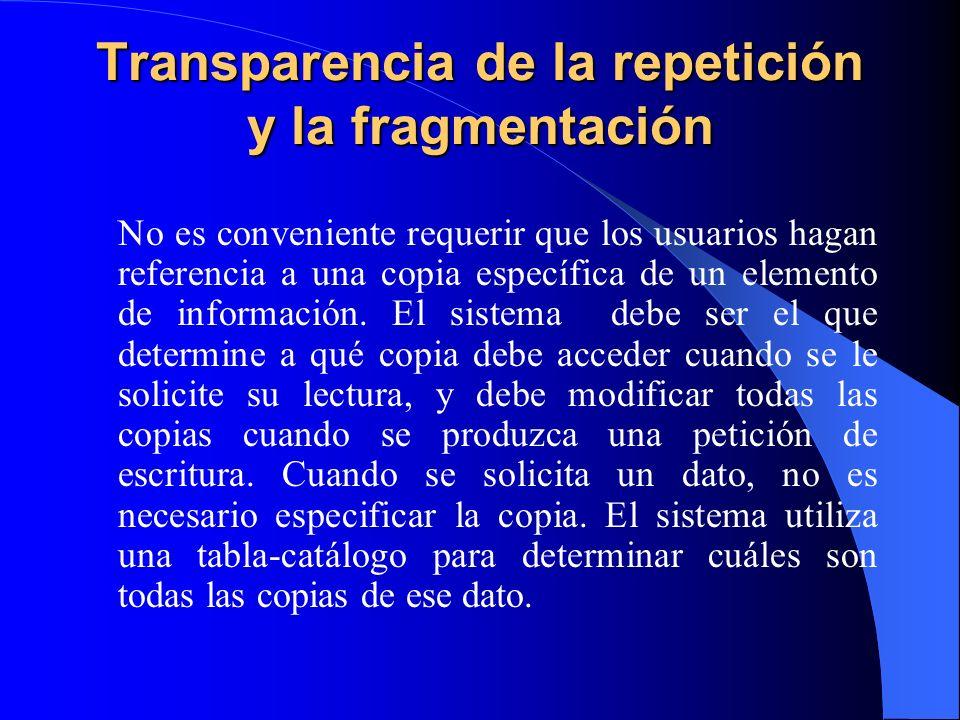 Transparencia de la repetición y la fragmentación No es conveniente requerir que los usuarios hagan referencia a una copia específica de un elemento d