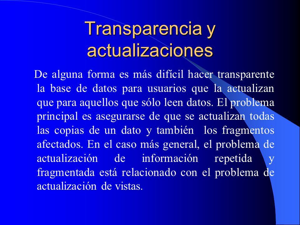 Transparencia y actualizaciones De alguna forma es más difícil hacer transparente la base de datos para usuarios que la actualizan que para aquellos q