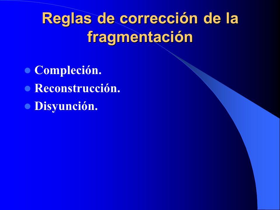Reglas de corrección de la fragmentación Compleción. Reconstrucción. Disyunción.