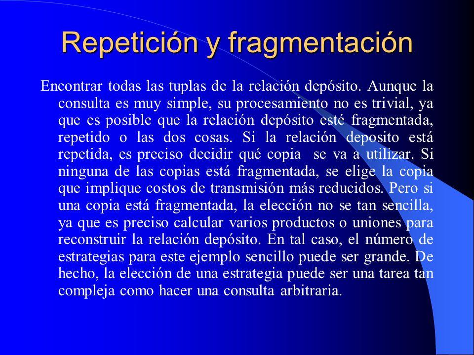 Repetición y fragmentación Encontrar todas las tuplas de la relación depósito. Aunque la consulta es muy simple, su procesamiento no es trivial, ya qu