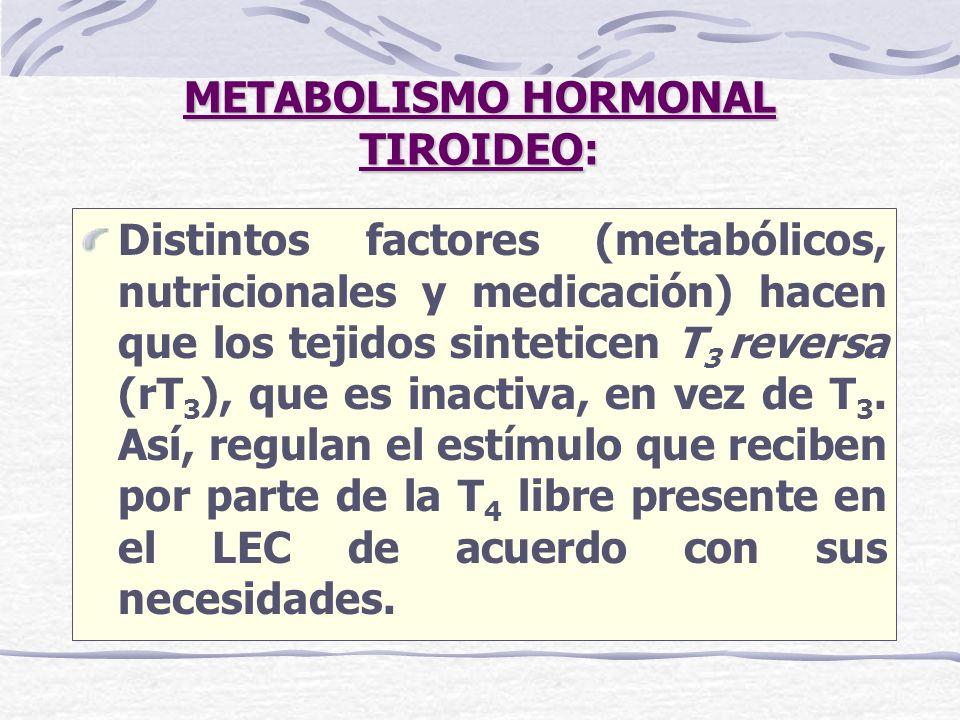 METABOLISMO HORMONAL TIROIDEO: Distintos factores (metabólicos, nutricionales y medicación) hacen que los tejidos sinteticen T 3 reversa (rT 3 ), que