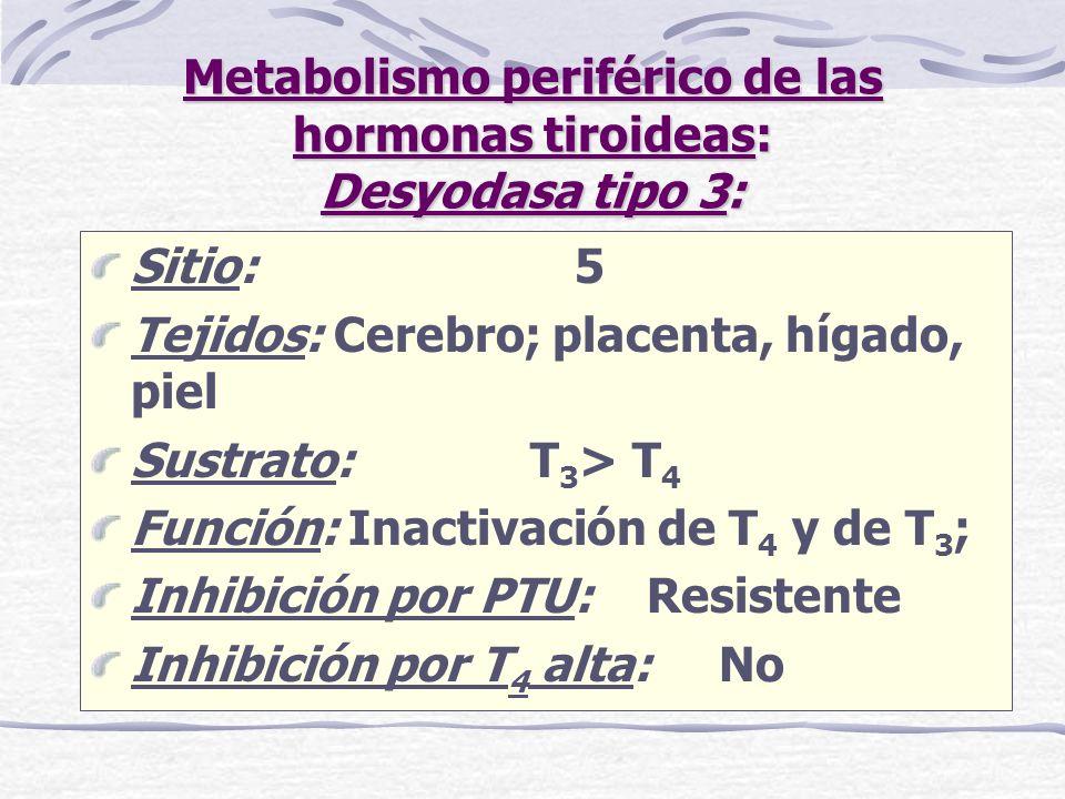 Metabolismo periférico de las hormonas tiroideas: Desyodasa tipo 3: Sitio: 5 Tejidos: Cerebro; placenta, hígado, piel Sustrato: T 3 > T 4 Función: Ina
