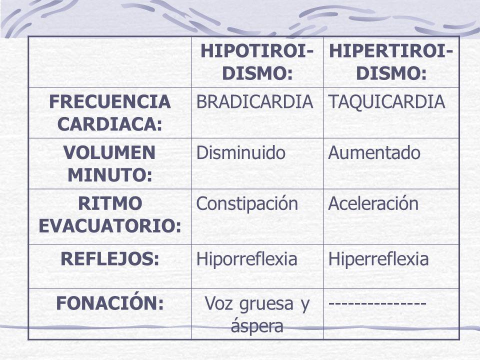 HIPOTIROI- DISMO: HIPERTIROI- DISMO: FRECUENCIA CARDIACA: BRADICARDIATAQUICARDIA VOLUMEN MINUTO: DisminuidoAumentado RITMO EVACUATORIO: ConstipaciónAc