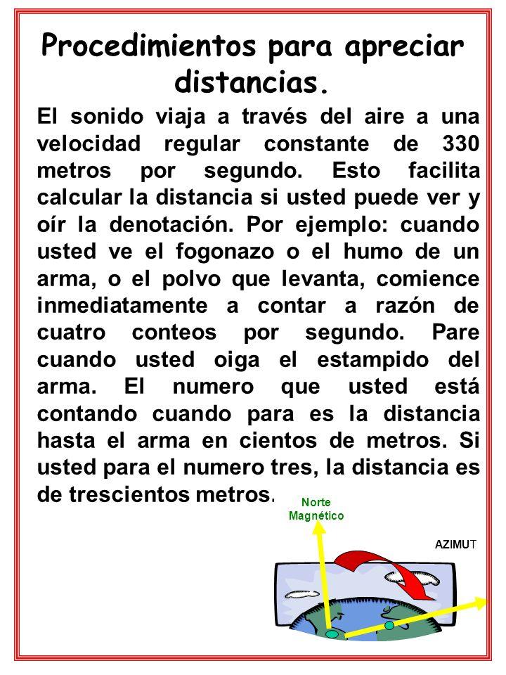 Procedimientos para apreciar distancias. El sonido viaja a través del aire a una velocidad regular constante de 330 metros por segundo. Esto facilita