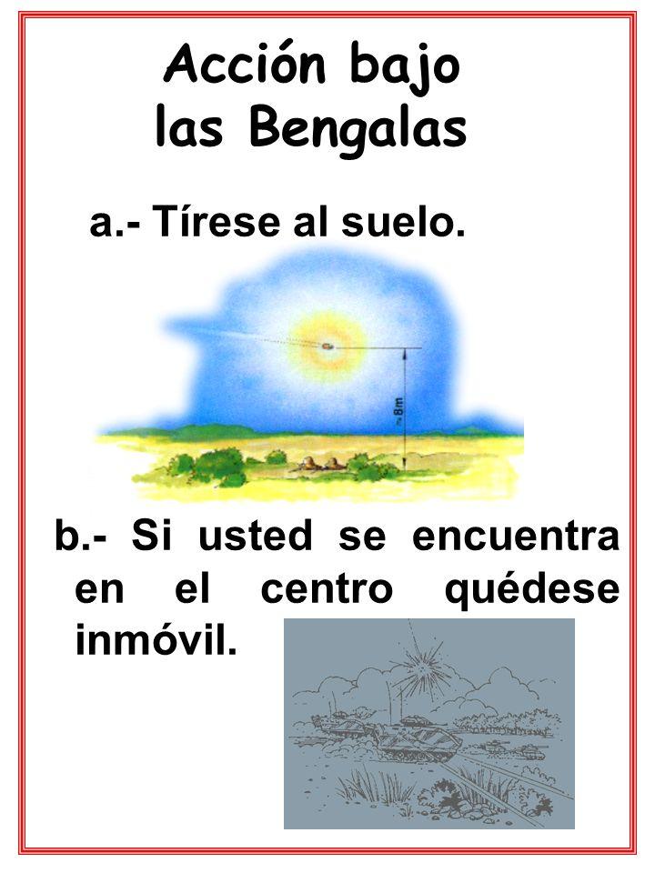 a.- Tírese al suelo. b.- Si usted se encuentra en el centro quédese inmóvil. Acción bajo las Bengalas